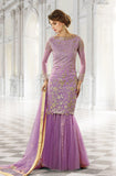 Purple Designer Bridal Georgette and Net Lehenga with BONUS Palazzo Pants - Saira's Boutique - 1