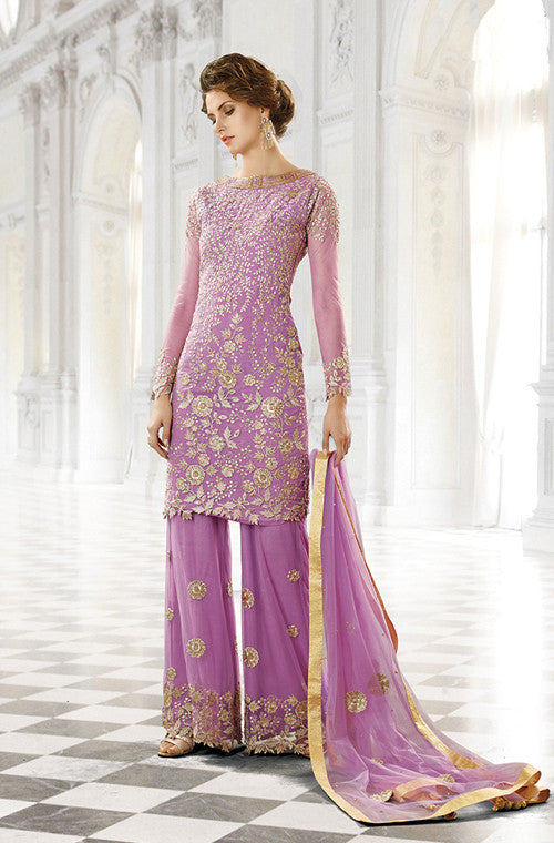 Purple Designer Bridal Georgette and Net Lehenga with BONUS Palazzo Pants - Saira's Boutique - 5