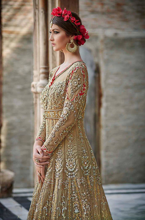 Gold Brown Designer Heavy Bridal Anarkali Suit - Saira's Boutique - 4