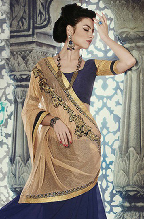 Blue Gold Designer Georgette Saree - Saira's Boutique - 2