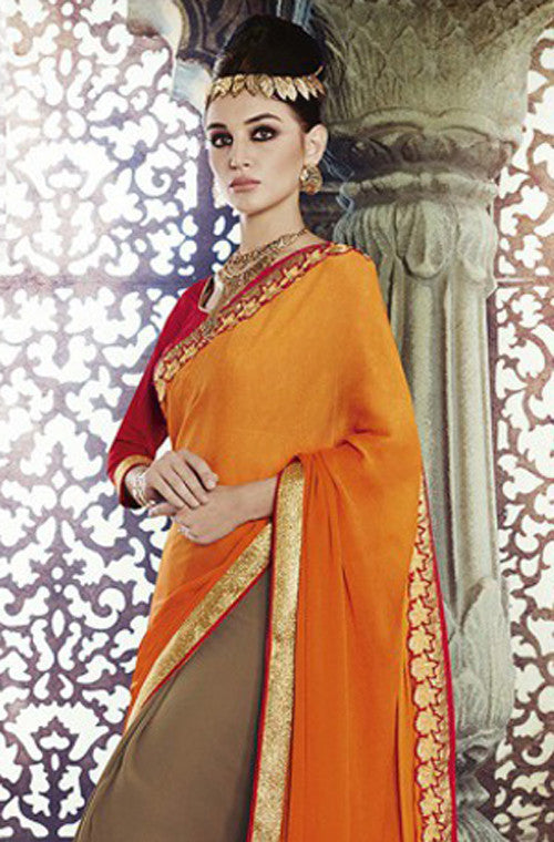 Orange Brown Designer Georgette Saree - Saira's Boutique - 2