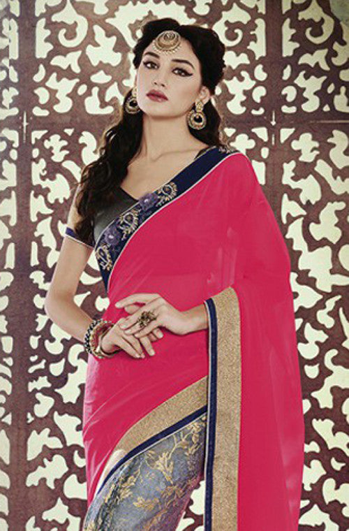 Pink Blue Designer Georgette Saree - Saira's Boutique - 2