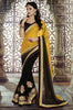Black Yellow Designer Georgette Saree-Saira's Boutique