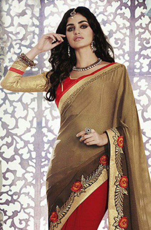 Red & Dark Gold Designer Georgette Saree - Saira's Boutique - 2