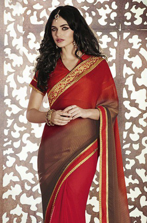 Red Brown Designer Georgette Saree - Saira's Boutique - 2
