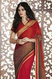Red Brown Designer Georgette Saree-Saira's Boutique