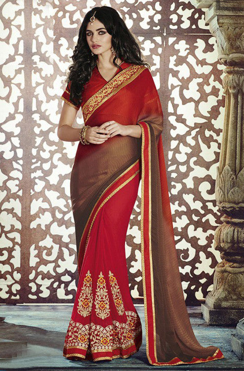 Red Brown Designer Georgette Saree - Saira's Boutique - 1