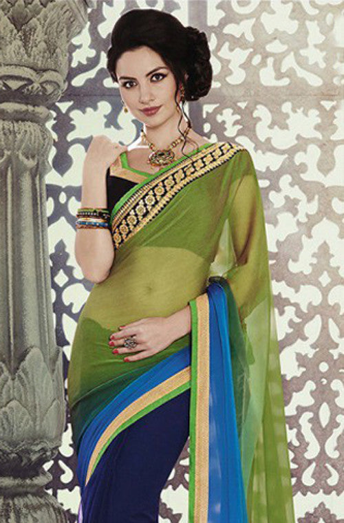 Blue Green Designer Georgette Saree - Saira's Boutique - 2