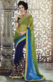 Blue Green Designer Georgette Saree - Saira's Boutique - 1