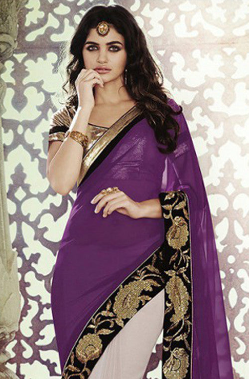 Purple Gold Designer Georgette Saree - Saira's Boutique - 2