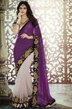 Purple Gold Designer Georgette Saree - Saira's Boutique - 1