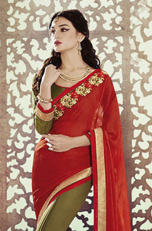 Mehendi Green Red Designer Georgette Saree - Saira's Boutique - 2