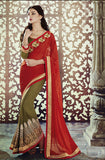 Mehendi Green Red Designer Georgette Saree-Saira's Boutique