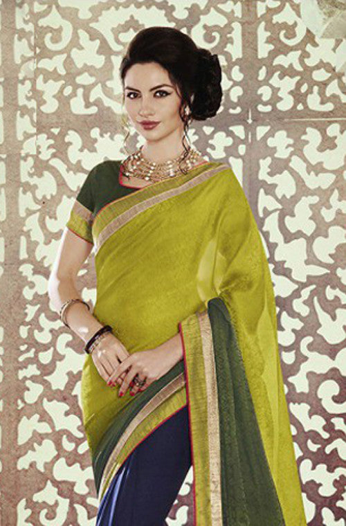 Light Green & Blue Designer Georgette Saree - Saira's Boutique - 2