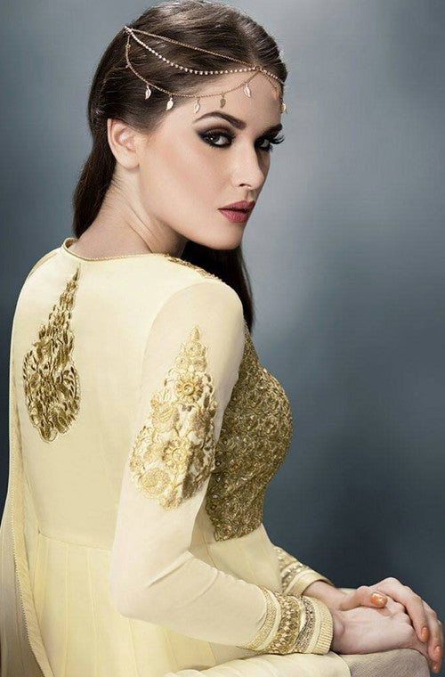 Cream & Gold Designer Heavy Anarkali Suit - Saira's Boutique