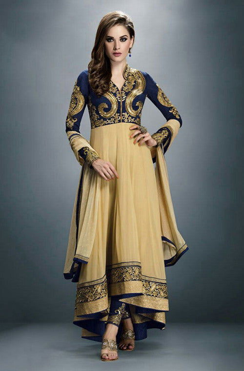 Beige Georgette Embroidered Anarkali Suit - Saira's Boutique