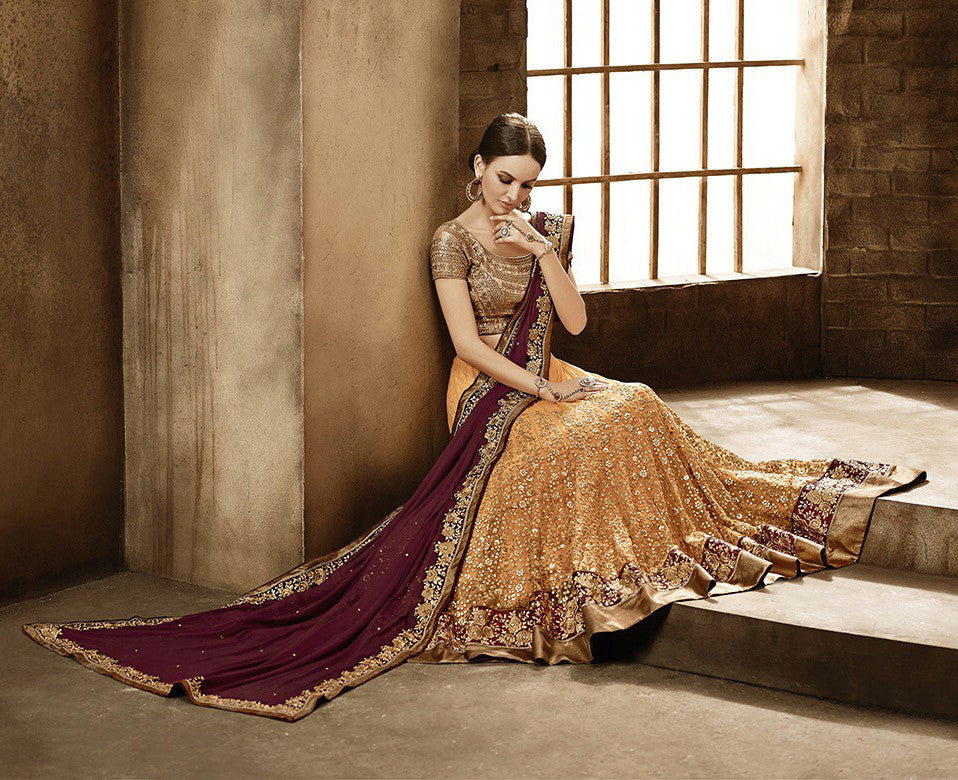 Orange Maroon Designer Bridal Net Lehenga - Saira's Boutique - 2