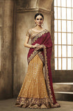 Orange Maroon Designer Bridal Net Lehenga - Saira's Boutique - 1