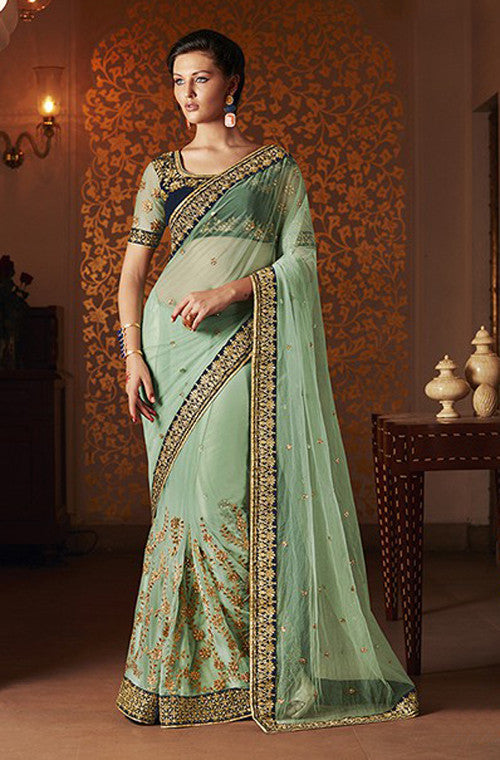 Green Designer Embroidered Net Bridal Saree - Saira's Boutique - 1