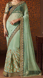 Green Designer Embroidered Net Bridal Saree - Saira's Boutique - 2