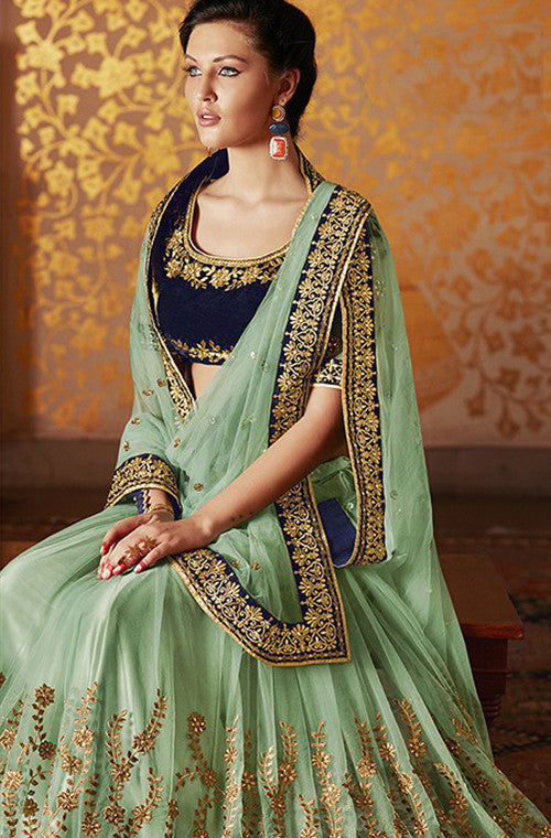 Green Designer Embroidered Net Bridal Saree - Saira's Boutique - 4