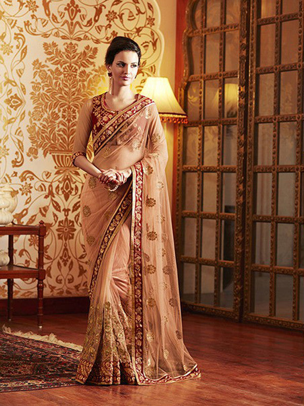 Peach Designer Embroidered Net Bridal Saree - Saira's Boutique - 4