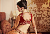 Peach Designer Embroidered Net Bridal Saree - Saira's Boutique - 3