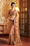 Peach Designer Embroidered Net Bridal Saree - Saira's Boutique - 1