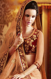 Peach Designer Embroidered Net Bridal Saree - Saira's Boutique - 5