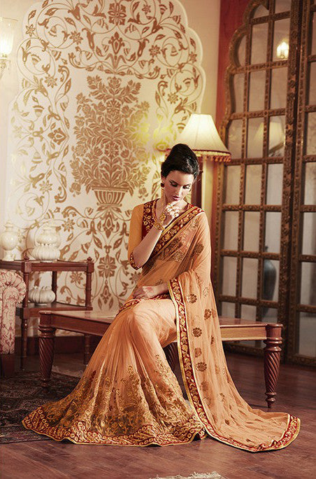 Peach Designer Embroidered Net Bridal Saree-Saira's Boutique