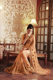 Peach Designer Embroidered Net Bridal Saree - Saira's Boutique - 2