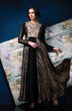 Black & Beige Designer Party Wear Gown - Saira's Boutique - 1