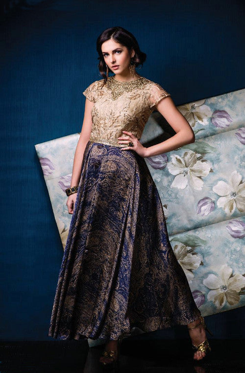 Beige & Blue Designer Party Wear Gown - Saira's Boutique - 1