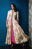 Cream & Magenta Designer Party Wear Gown - Saira's Boutique - 1