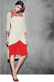 Red & White Georgette Designer Kurti - Saira's Boutique - 1