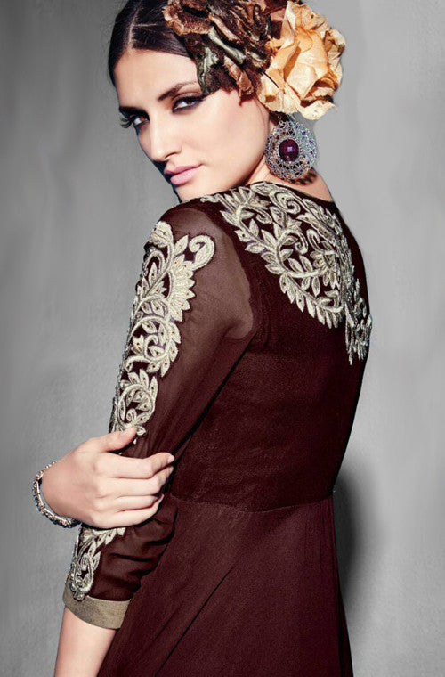 Mahogany Brown Georgette Designer Kurti - Saira's Boutique - 2