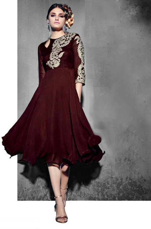 Mahogany Brown Georgette Designer Kurti - Saira's Boutique - 1