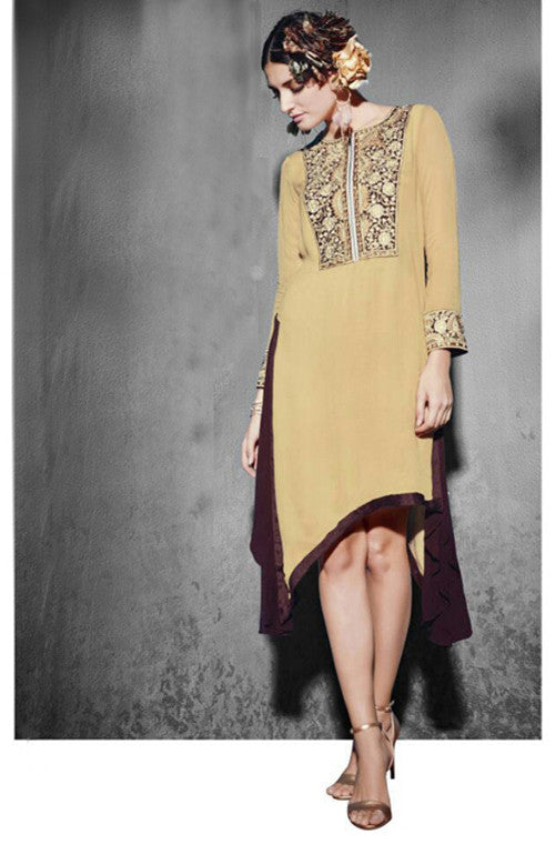 Beige Embroidered Georgette Designer Kurti - Saira's Boutique - 1