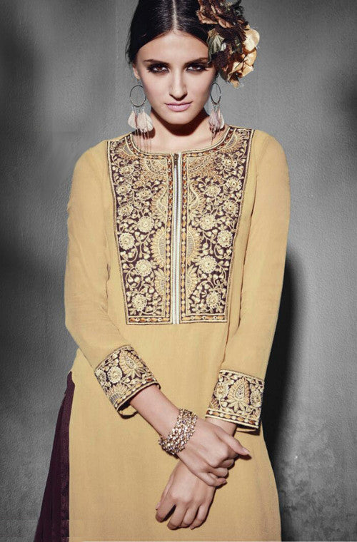 Beige Embroidered Georgette Designer Kurti - Saira's Boutique - 2