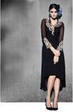 Black Embroidered Georgette Designer Kurti - Saira's Boutique - 1
