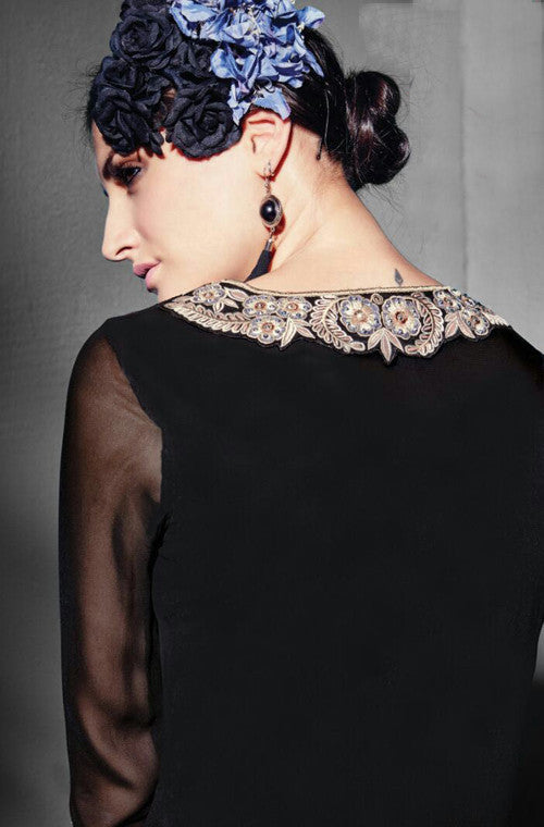 Black Embroidered Georgette Designer Kurti - Saira's Boutique - 2