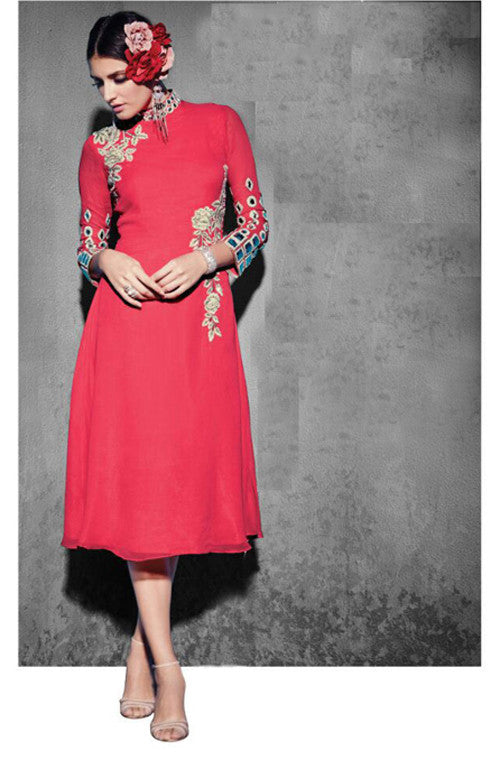 Coral Red Embroidered Georgette Designer Kurti-Saira's Boutique