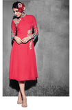Coral Red Embroidered Georgette Designer Kurti - Saira's Boutique - 1