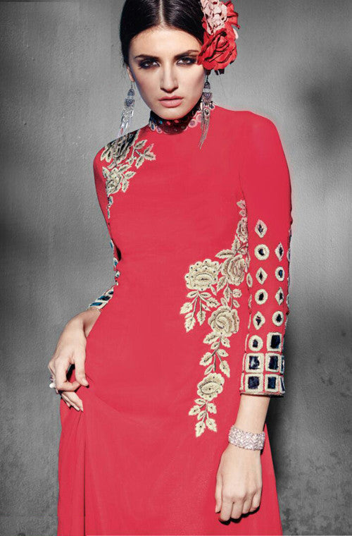 Coral Red Embroidered Georgette Designer Kurti - Saira's Boutique - 2