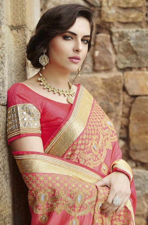 Pink & Gold Designer Embroidered Fancy Bridal Saree - Saira's Boutique - 4