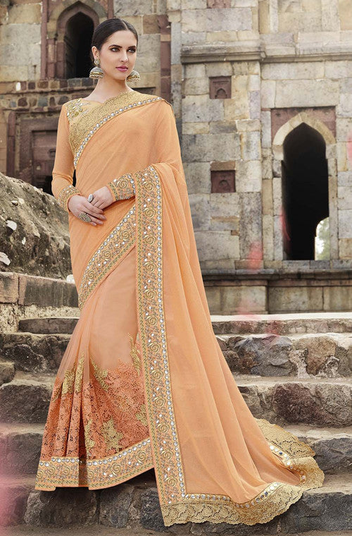 Peach & Gold Designer Embroidered Georgette & Net Bridal Saree - Saira's Boutique - 1