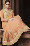 Peach & Gold Designer Embroidered Georgette & Net Bridal Saree - Saira's Boutique - 6