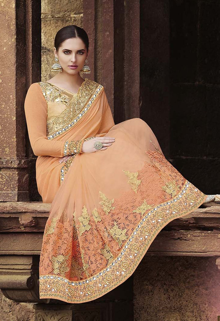 Peach & Gold Designer Embroidered Georgette & Net Bridal Saree - Saira's Boutique - 2