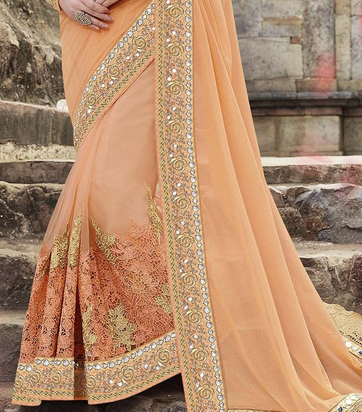 Peach & Gold Designer Embroidered Georgette & Net Bridal Saree - Saira's Boutique - 5