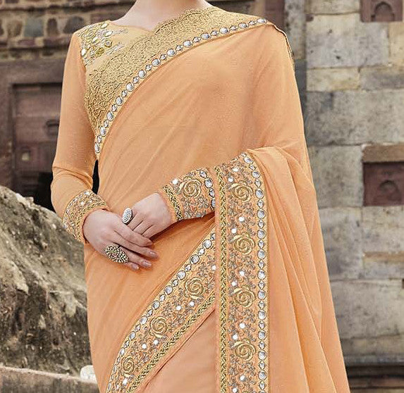 Peach & Gold Designer Embroidered Georgette & Net Bridal Saree - Saira's Boutique - 4